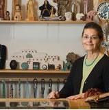 photo of Jane Wolf in her store, Silver Feather