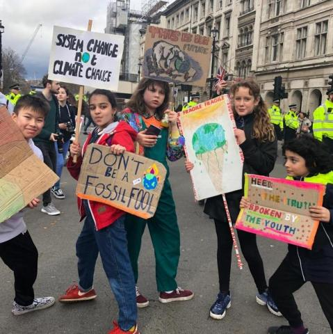 Youth Protesting in London for Climate Action