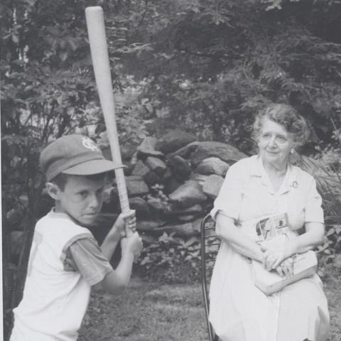 young Lew Blaustein at the plate
